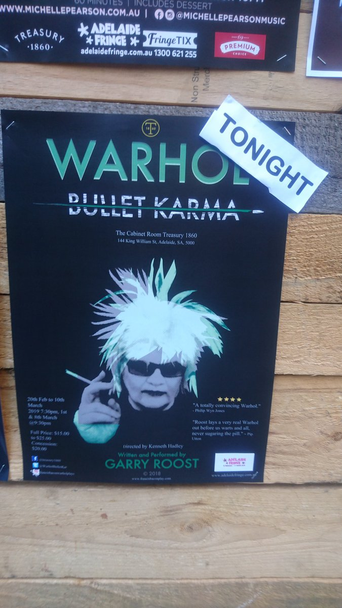 """@WarholBulletKar #Treasury1860 7:30pm Tonight...   ⭐️⭐️⭐️⭐️ """"This is a very convincing portrayal that goes so much deeper than an impersonation of the Warhol that we have seen in documentaries."""" Bob Becker Hifiway The Pop Chronicals #AdelaideFringe2019 #Theatre #Art #Warhol https://t.co/CqtQYCCyf2"""