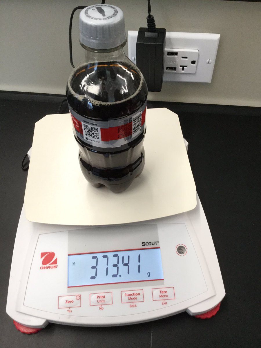 Applying the Ideal Gas Law to determine the internal pressure of various sodas @JBSchool. Don't forget to compare mass of opened soda with unopened tomdetermine moles of CO2. Another great idea from the J of Chemical Education @RealTimeChem @chem13news and @ChemEd2019, @ChemEdX