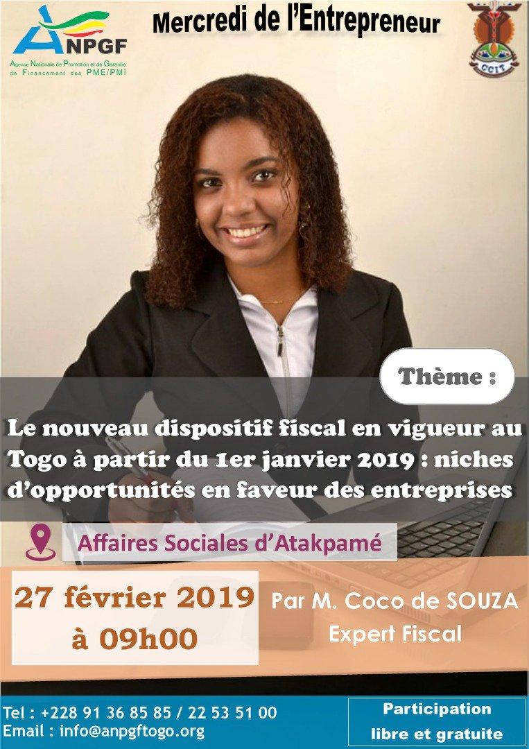 Dans quelques heures l'@AnpgfT sera à Atakpamé pour le Mercredi de l'#Entrepreneur sur le code général des impôts du #Togo #Denyigban. #pnd