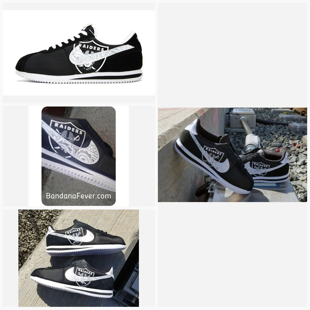 online retailer 02db1 53c66 Bandana Fever Bandana Oakland Raiders Big Print Custom Black White Nike  Cortez Shoes  raiderpride