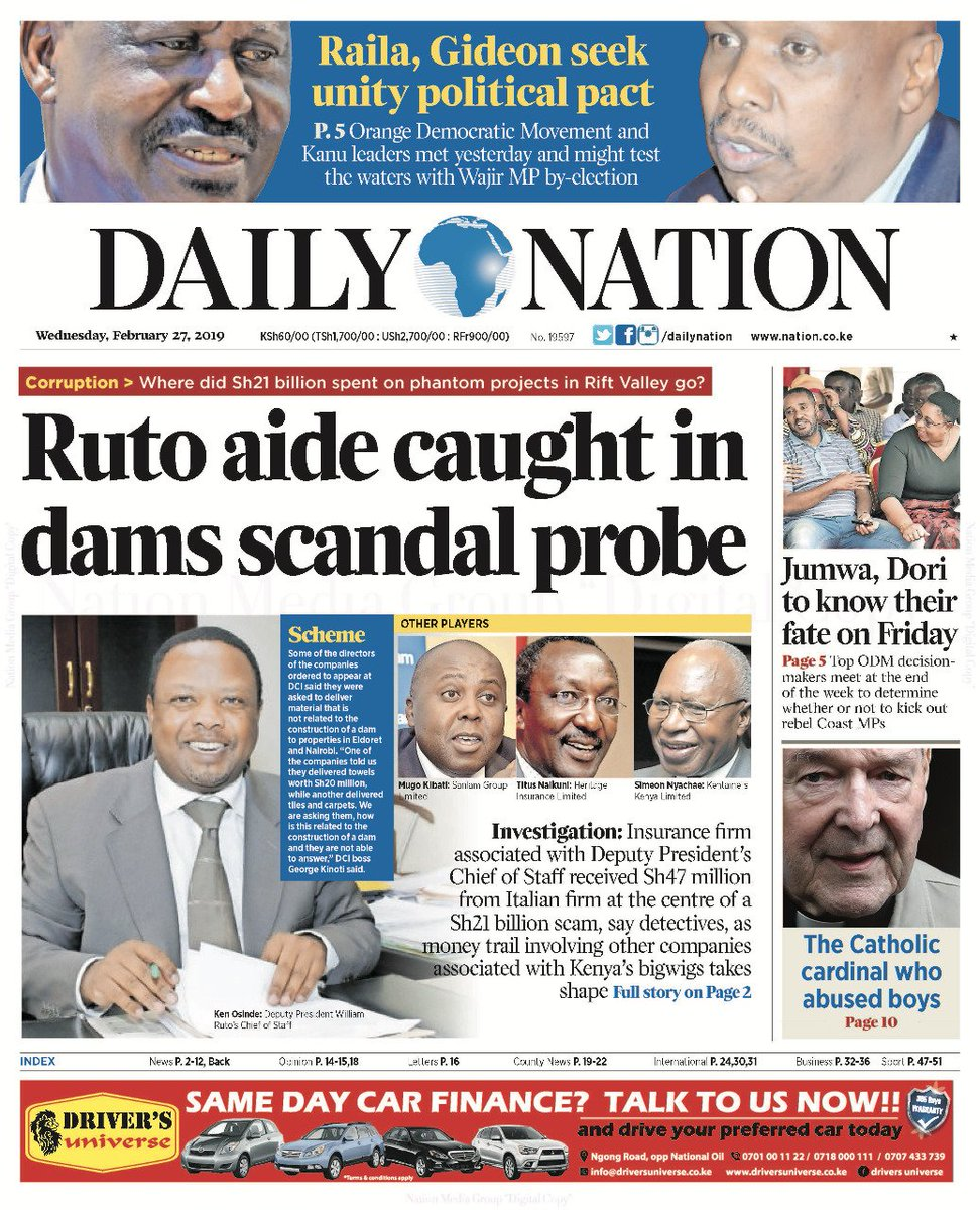 Image result for Ruto's name on kenyan newspapers