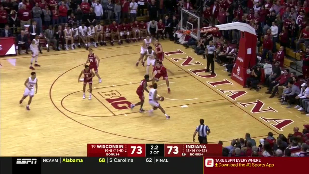 R😍ME😍!  @yeahyeah_22 sent the Hoosiers home happy with a game-winning bucket in Double OT for @IndianaMBB: