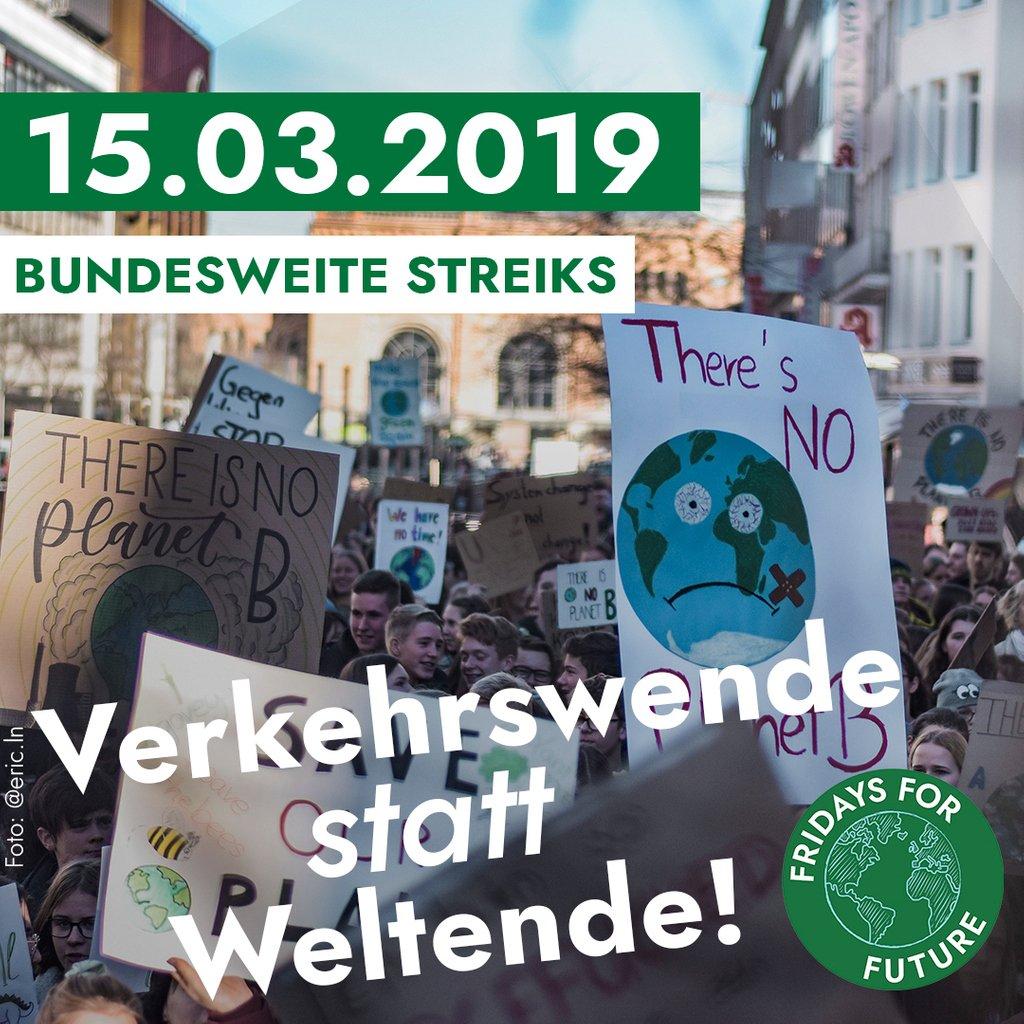Fridays For Future Germany  @FridayForFuture 27. Feb.<br /> Am 15. März sind wir in ganz Deutschland auf der Straße um für die Verkehrswende zu streiken. #FridaysForFuture ist an diesem Tag in vielen Ländern international vertreten...