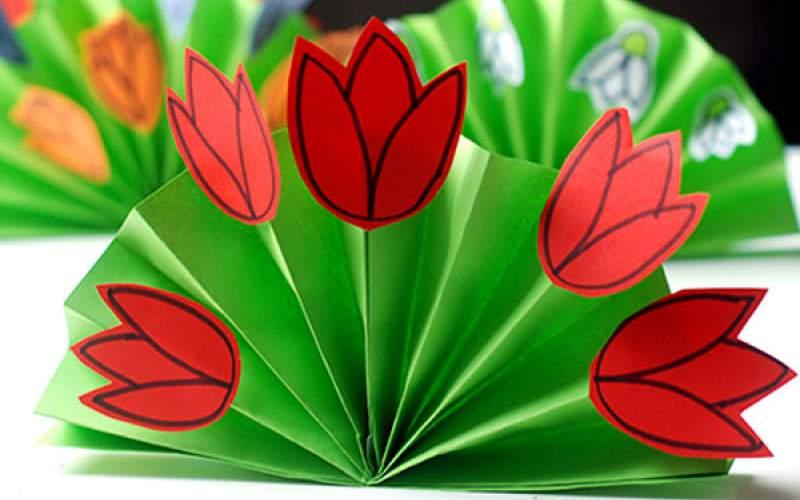 Цветы из бумаги на открытки на 8 марта