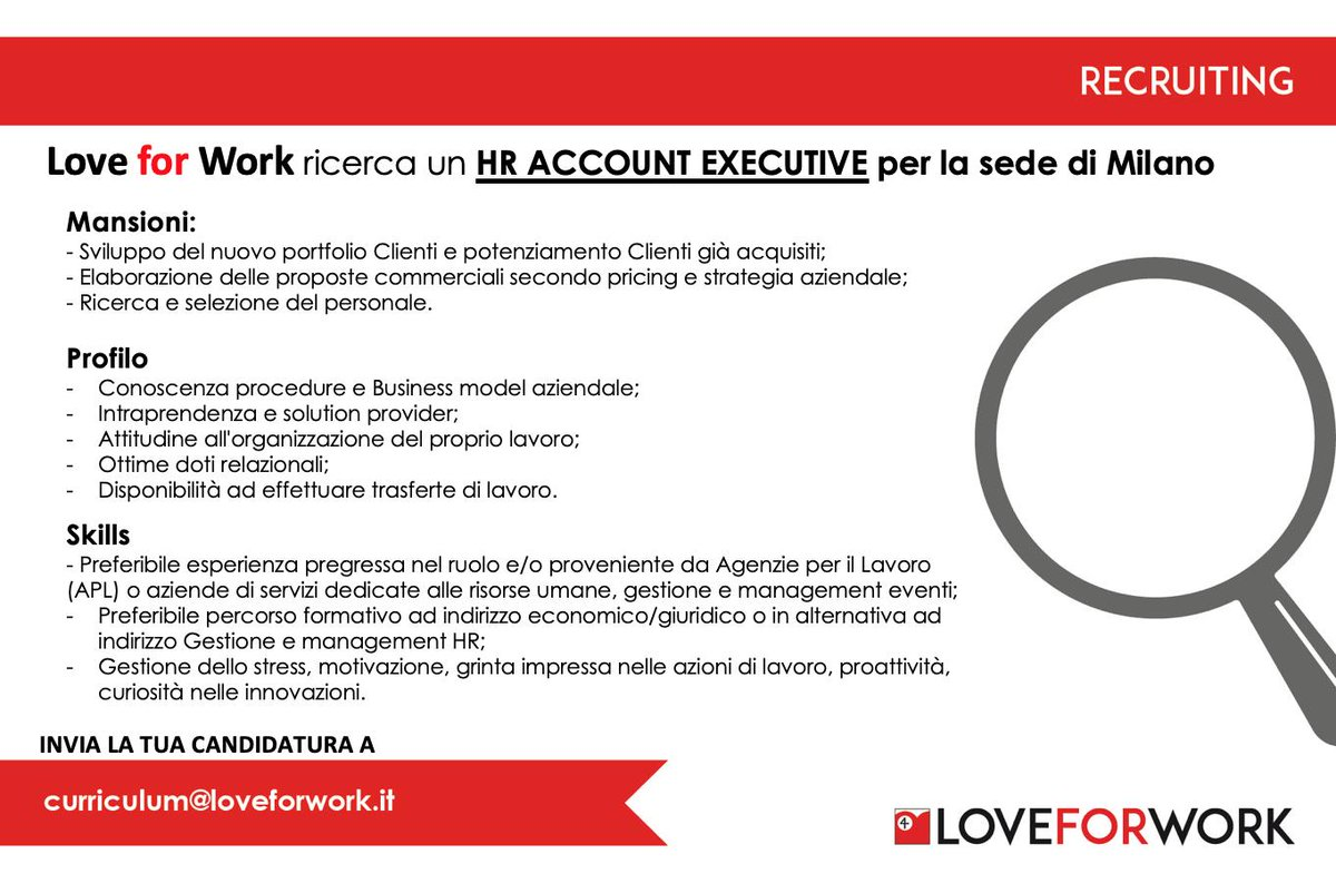 Love For Work It On Twitter Stiamo Cercando Un Hr