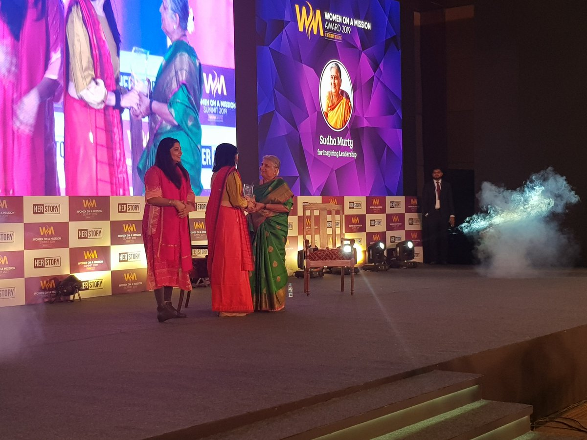 Mrs. Sudha Murty, chairperson of Infosys Foundation India, receives 'inspiring leadership' award from @rnivruti, country head Intel India  and @SharmaShradha, founder of YourStory at the #WomenOnAMission Summit 2019.