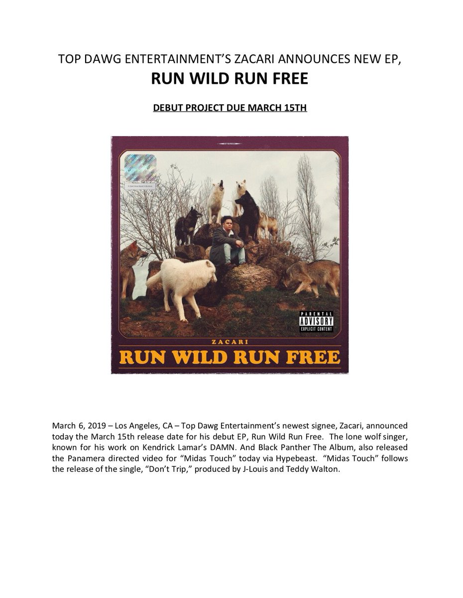 "cef650dbc384  zacarip ""Run Wild Run Free"" EP COMING 03 15  TDE 🐺"