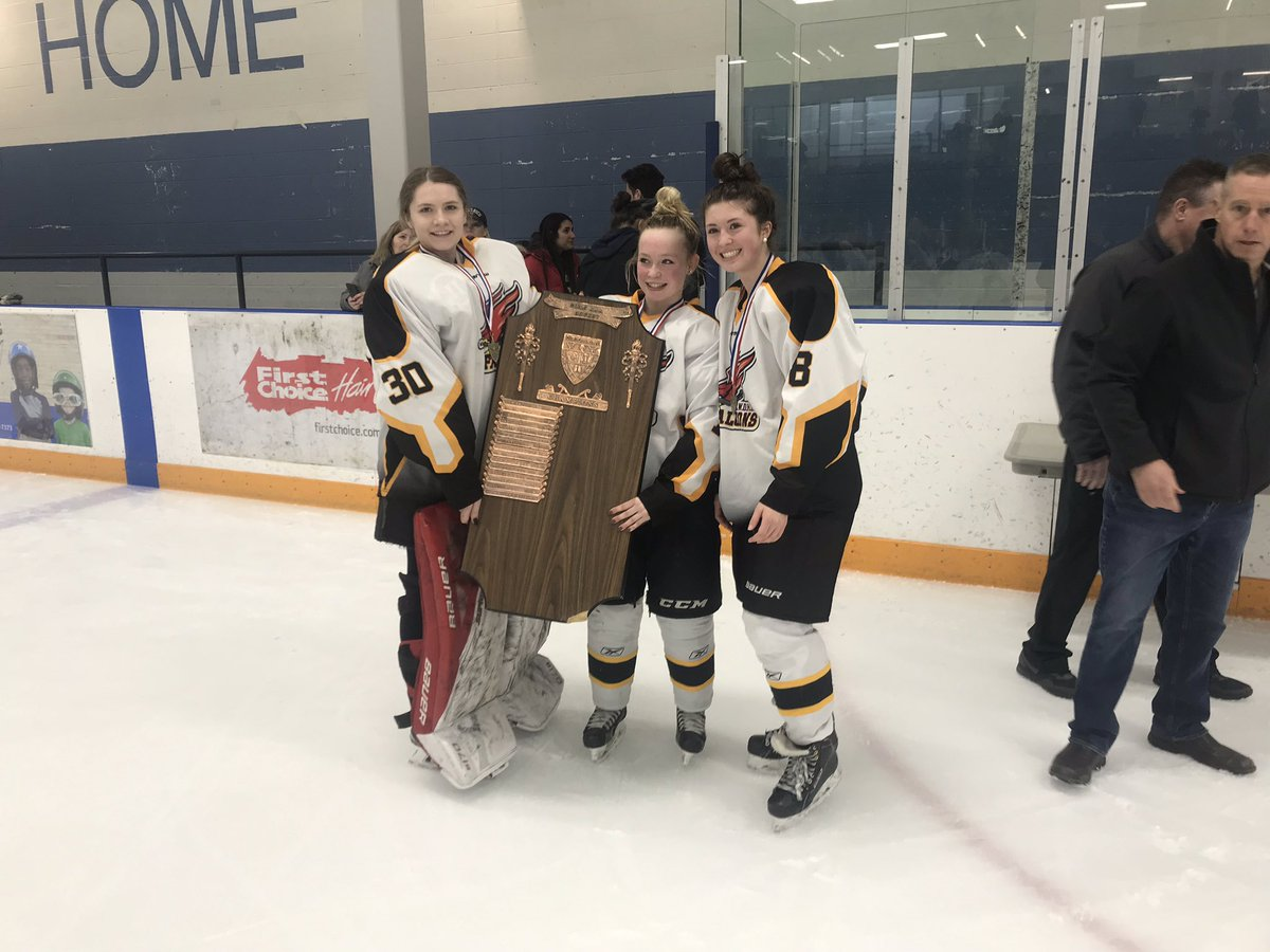 Centre Wellington wins @cwossasports AAA girls hockey championship with 3-1 victory over @St_Marys_Kitch. Falcons advance to @ofsaa.