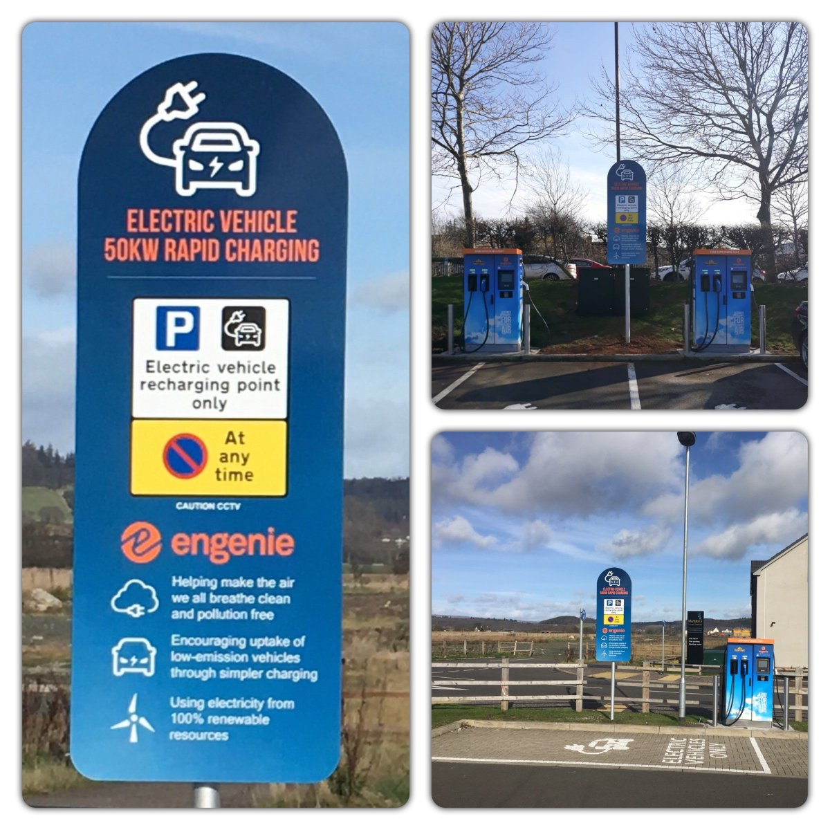 Some of our rapid charging installations for @engenieUK look out for these fantastic facilities in key locations powered by 100% renewable energy popping up all over the UK.  @OLEVgovuk @zap_map @GoUltraLow @WattsUpUK #rapidcharger #ev #renewableenergy