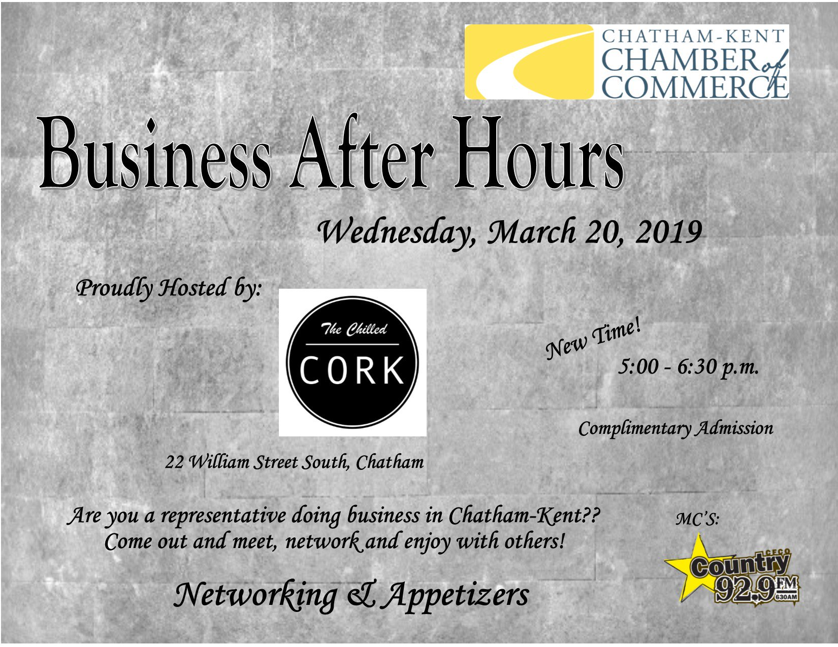 CK Chamber of Commerce Business After Hours (March 2019) @ The Chilled Cork