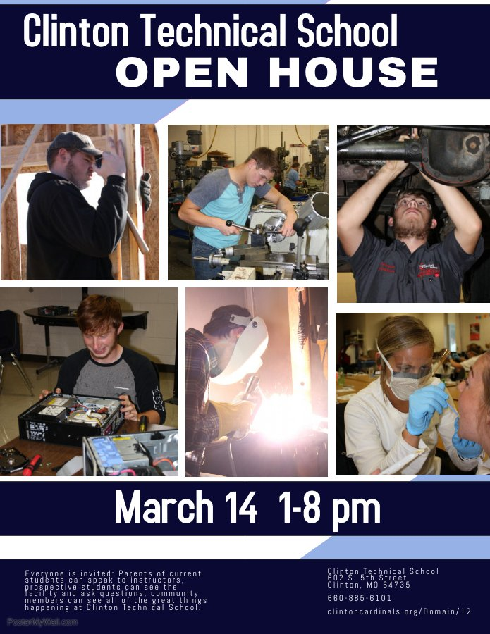 Come visit the Clinton Technical School at our Open House on March 14.