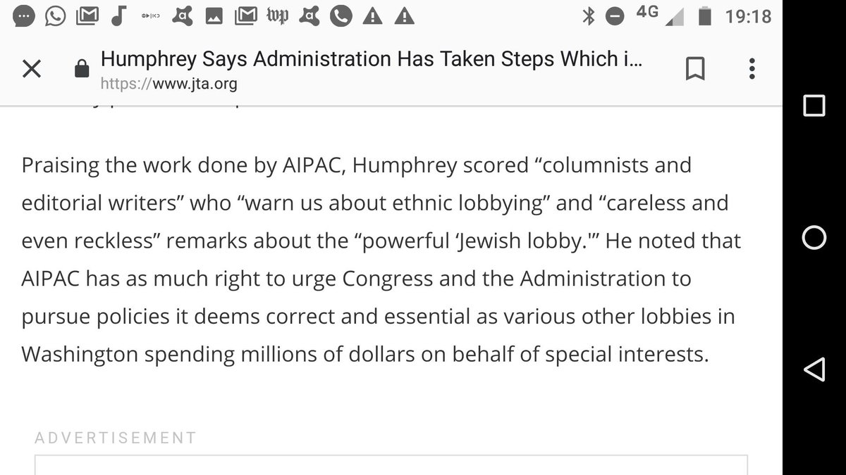 .@Ilhan Did you learn much about a great American & Minnesotan, Hubert H Humphrey, a senator & VP. I heard him at the @AIPAC Policy Conference in May 1976. See  incomplete JTA account below. But I recall one incredible line not here.