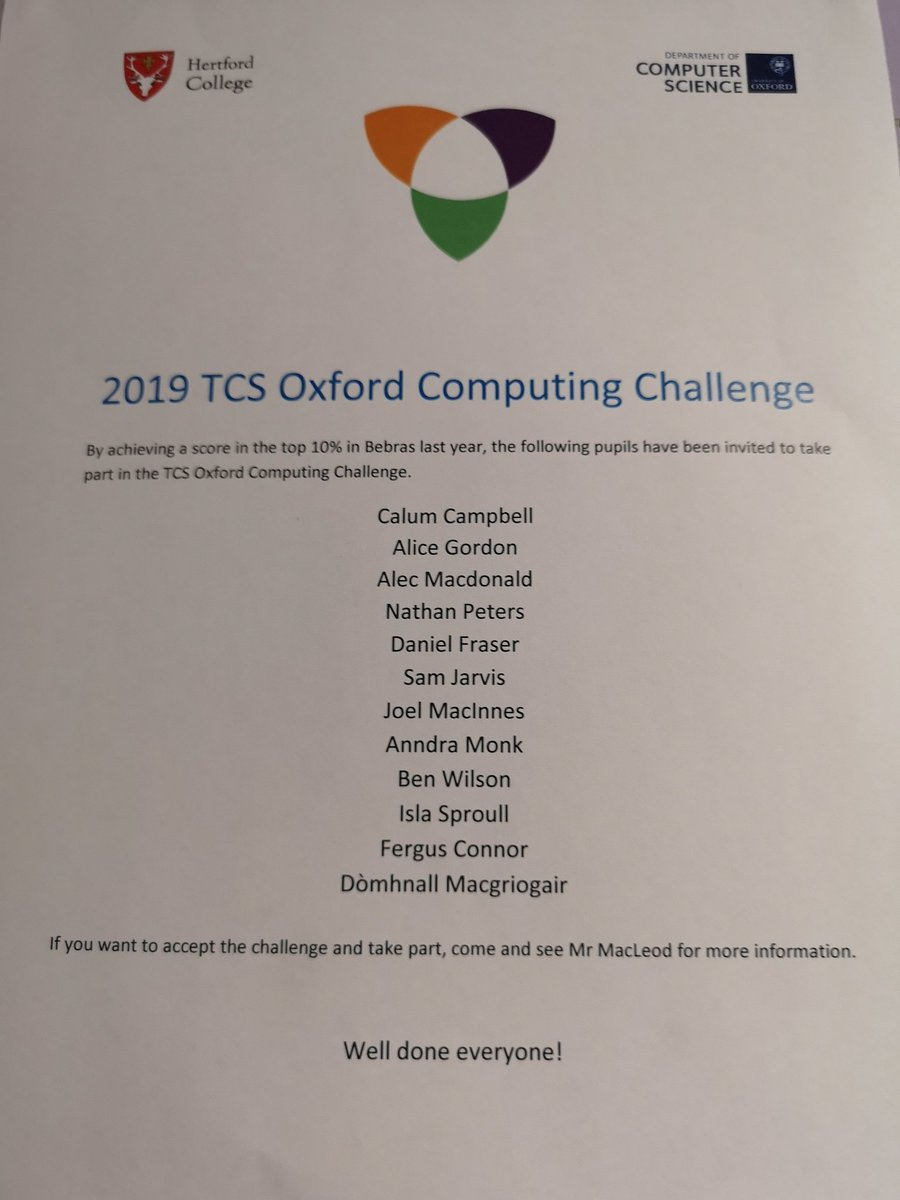 Wee reminder for the pupils doing the Oxford Computing Challenge tomorrow - 2.45 Mr Combe's room. Good luck! @GaelicSchool @SGGTeicneolasan