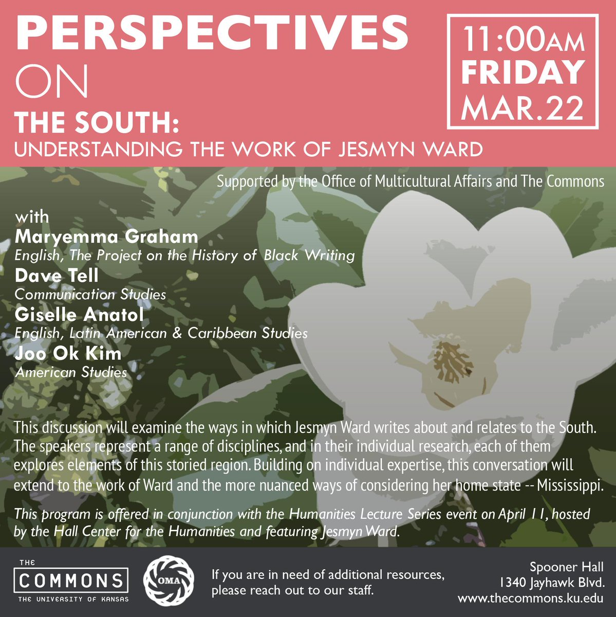 Excited to announce this event--a discussion on The South and the work of Jesmyn Ward! 11am, Mar. 22. | Featuring Maryemma Graham, Dave Tell, Giselle Anatol, Joo Ok Kim, and presented in conjunction with the @KUHallCenter April 11 talk by Jesmyn Ward at @libertyhall!