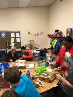 Ms Grace O'Malley and Ms Chelsea Hoffnagle's classes making Leprechaun traps for St. Patrick's Day!!! Watch out you Leprechauns!!!!