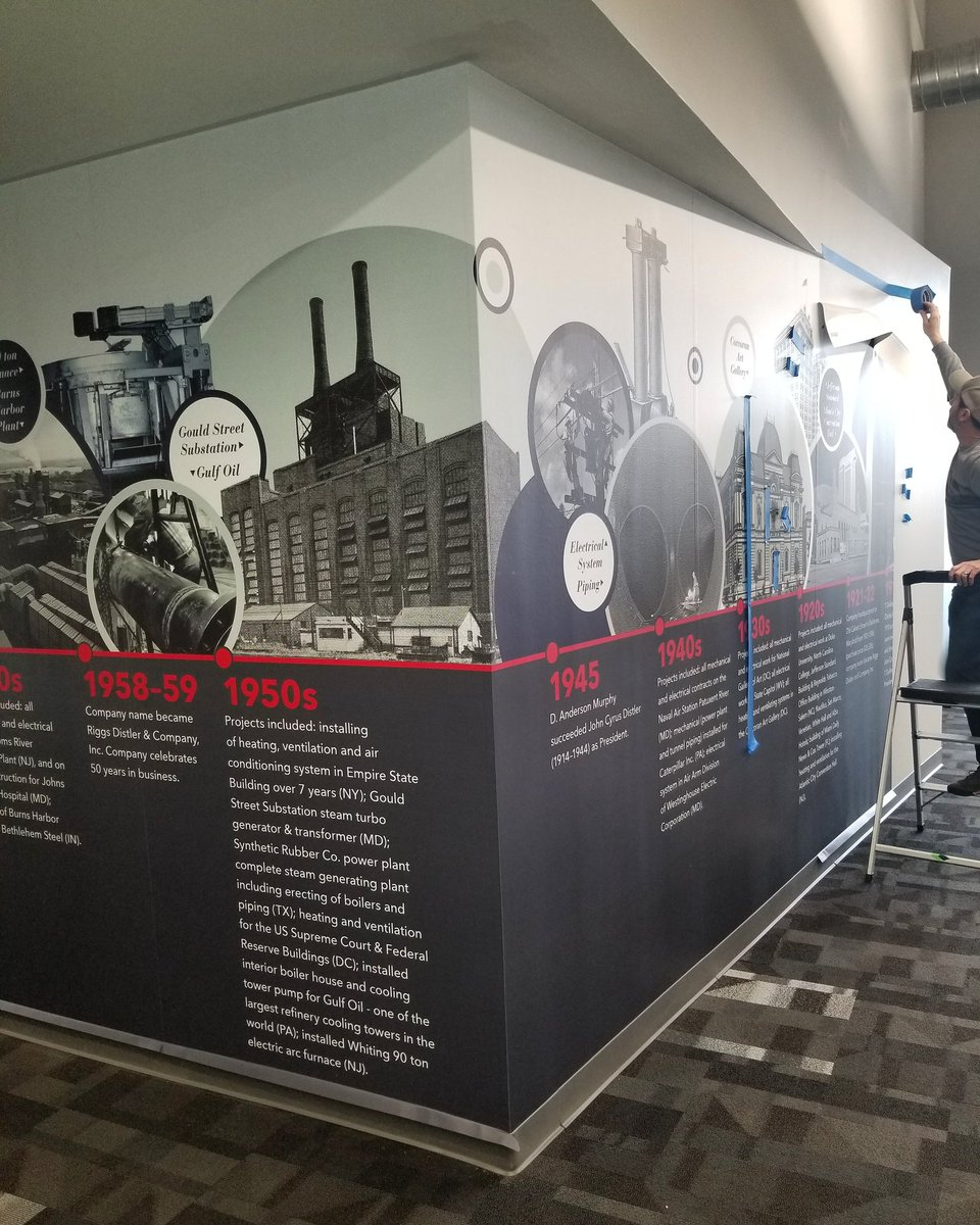 Peak at the install of our commemorative mural highlighting our first 100 years in our corporate HQ.   Designed by #rubincreative #mural #100years #businessmilestones #milestone #art #design<br>http://pic.twitter.com/OaO0qdnCKw