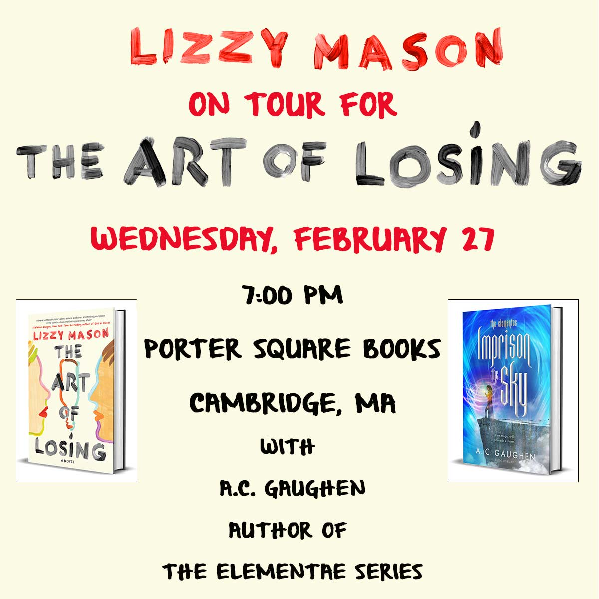 Lizzy Mason On Twitter Tonight I M At Portersqbooks With One Of My Favorite People Acgaughen Come See Us