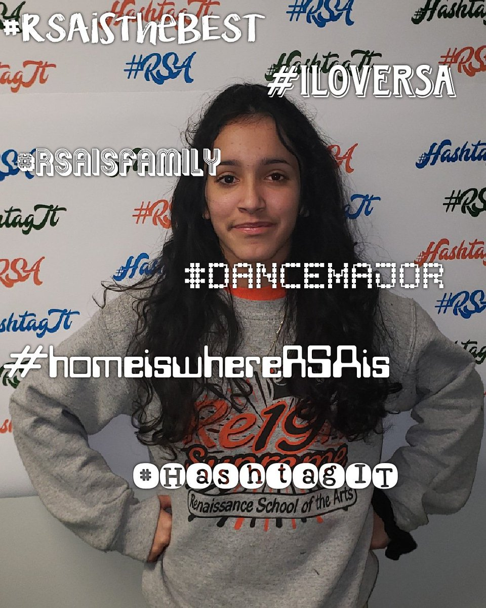 Student: Nevaeh RSA status: Senior RSA duties: Student Government Secretary  5 positive hashtags that describe her feelings about RSA: #iLoveRSA #RSAistheBEST #HOMEiswhereRSAis #DanceMajor #RSAisFAMILY 💙💚🧡 We love you too! #HashtagIT  #TheBESTPerformingArtsSchoolinD4 – at Renaissance School of the Arts