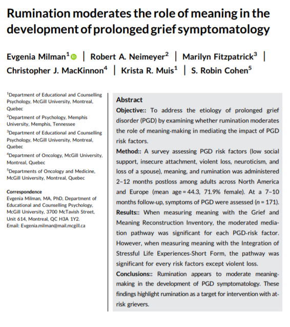 The moderating influence of #rumination on meaning‐making compounded the mediated negative effect of anxious and avoidant attachment, spousal loss, #neuroticism, and low social support on PGD symptomatology. In Journal of Clinical Psychology:  https://doi.org/10.1002/jclp.22751…