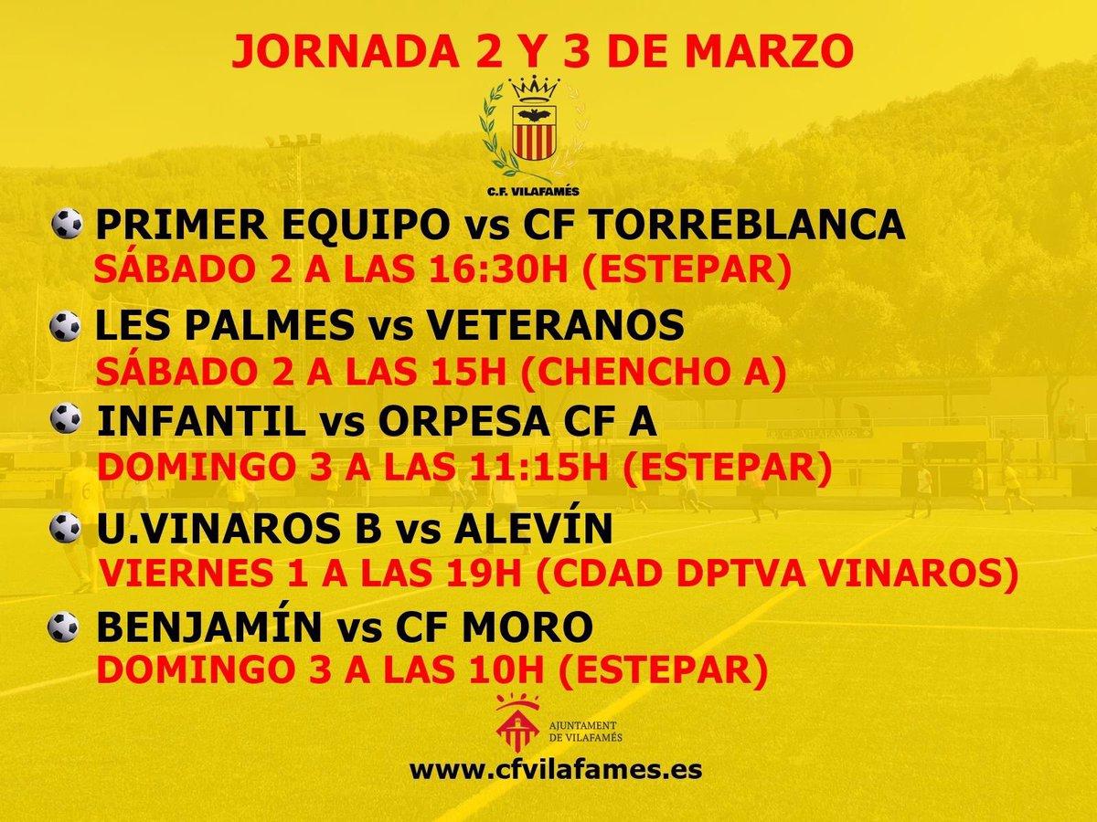 Agenda CF Vilafamés del 2 y 3 de marzo.  ¿Preparados para disfrutar de una nueva jornada de fútbol?  Disponibles los horarios de la jornada.  #cfvilafamés #amuntvilafamés #ligacfv