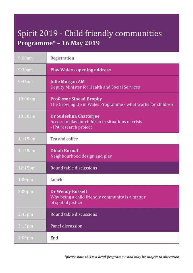 I'm looking forward to this year's @PlayWales Spirit 2019 conference. I'll be sharing some early findings from the current research I'm doing on Play Sufficiency with fab colleagues @ludicology and @LottieDerry.   More info and to book your place: http://www.playwales.org.uk/eng/events/477