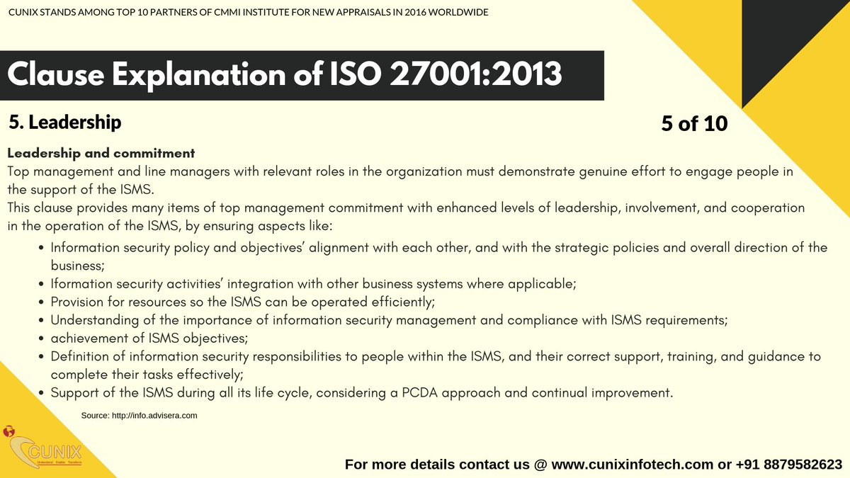 iso 27001 clause 5 leadership