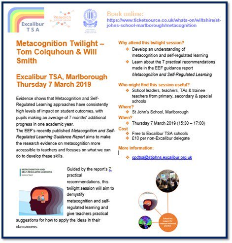 Join us at our Metacognition CPD on 7 March @StJohnsMarlb 3:30-5pm Understand metacognition and self-regulated learning; guidance on how to apply the ideas in the classrooms. Free to staff from all Alliance schools; £10 for other schools. Book here: https://t.co/RiAJT03mKA