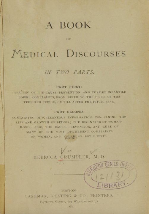 Pictured from Wiki Commons: Crumpler dedicated her 1883 book to nurses and  mothers, '