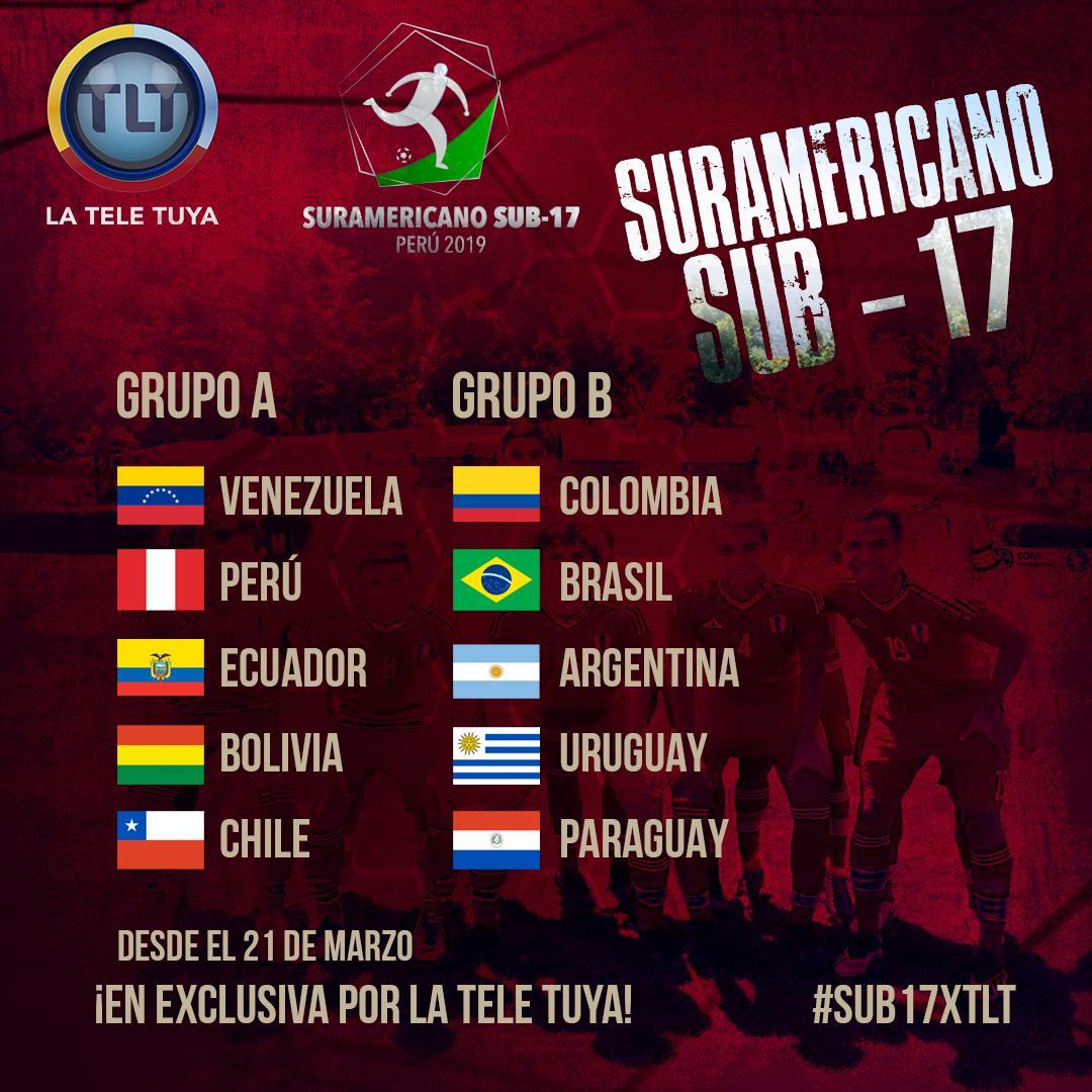 Así quedó el sorteo del Suramericano Sub 17 de Perú 2019.  Todos los partidos los vivirás en vivo y directo por la casa del fútbol nacional. 📺🇻🇪⚽️  Acompañamos al profesor @josehernandez52 y a toda nuestra selección @Sub17Vzla   #SUB17xTLT