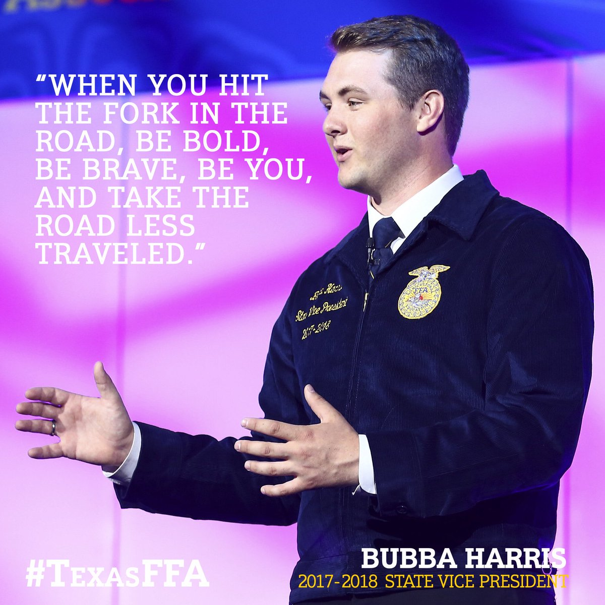This week's #WisdomWednesday comes from 2017-2018 State Vice President Bubba Harris! #TexasFFA