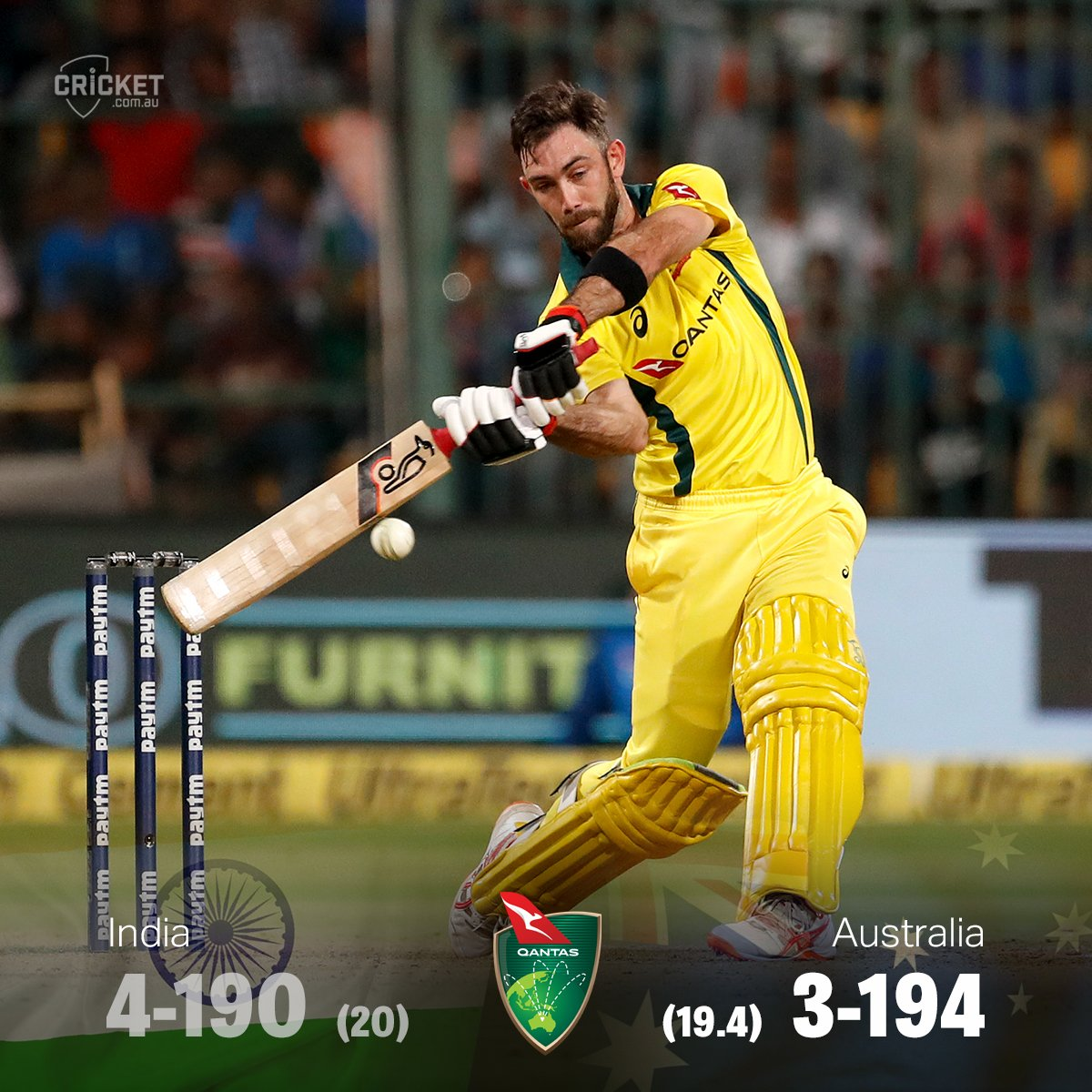 AUSSIES WIN! Glenn Maxwell's remarkable hundred leads Australia to victory with two balls to spare and they claim the T20 series 2-0! https://cricketa.us/INDvAUS19-2 #INDvAUS