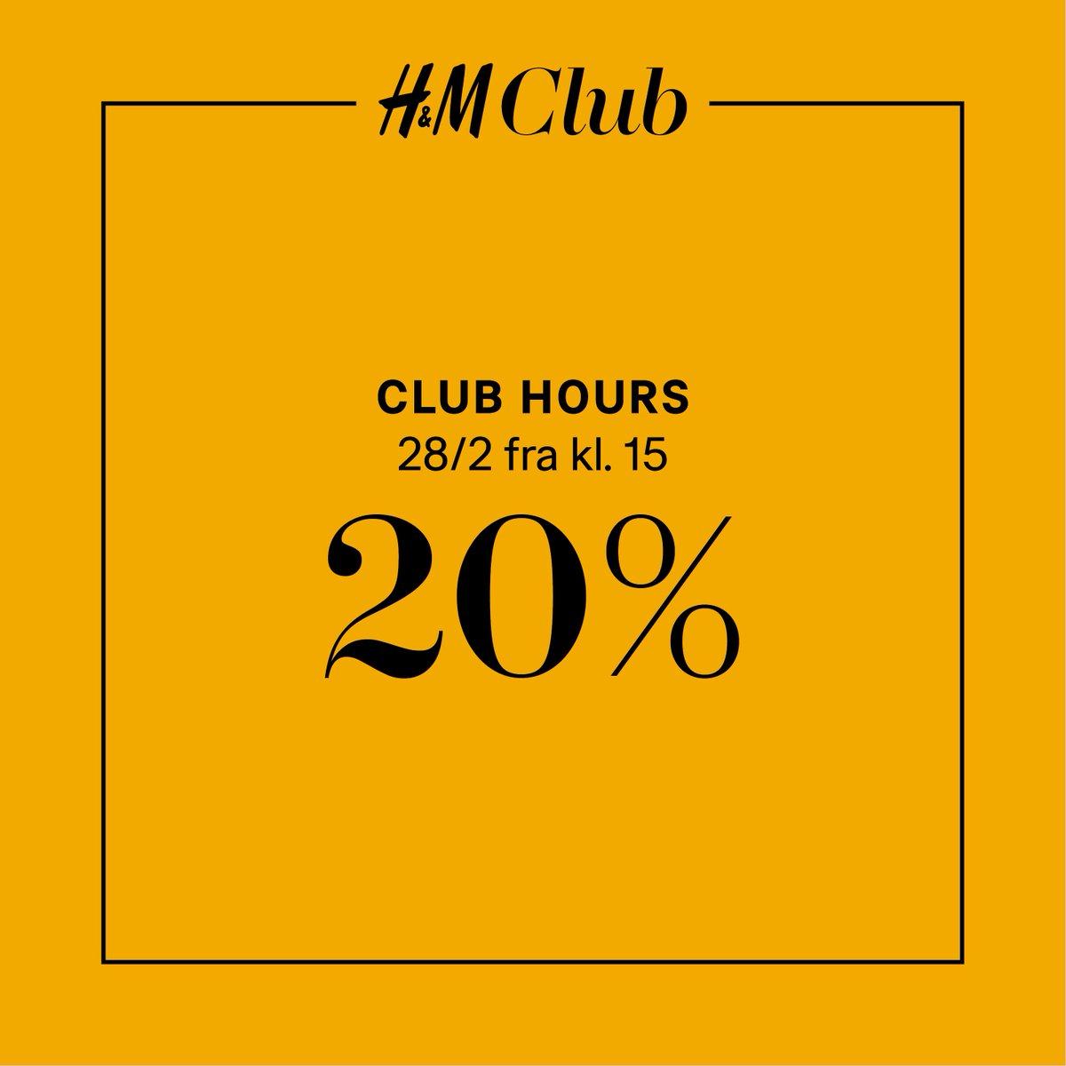 CLUB HOURS i morgen fra kl. 15! Få 20% RABAT på dit køb i alle H&M-butikker og online - i butikkerne fra kl. 15 til lukketid og fra kl. 15-20 online. Rabatten opnås ved indløsning af Club-reward. Kan ikke kombineres med andre tilbud og rabatter og gælder ikke ved køb af gavekort. https://t.co/sQdOADkcUA