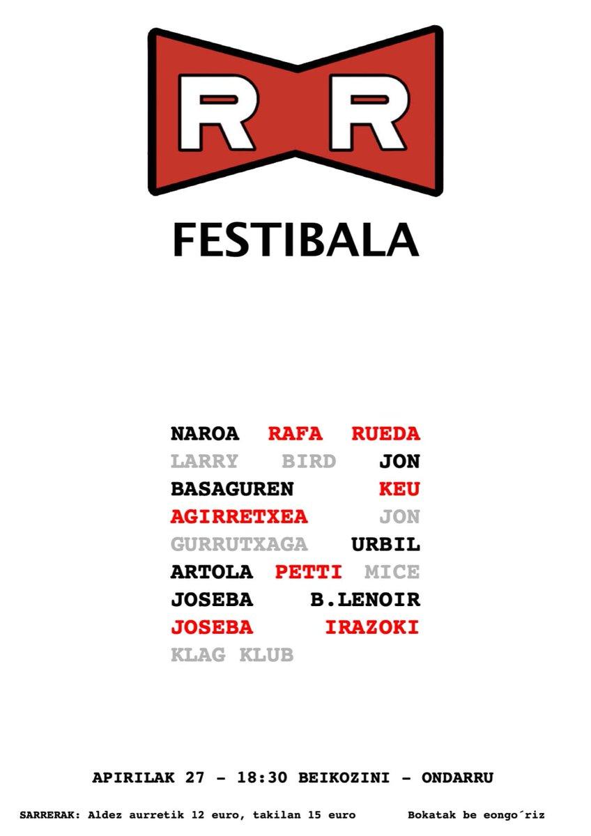 Hemen kartela bera:  #Naroa, @RafaRueda, @LarryBirdGara, @Jonbasaguren, @keuagirretxea, @Jon_Gurrutxaga, #UrbilArtola, @Petti, @rentx, @JosebaBLenoir, @JIrazoki eta @KlagKlub   😎