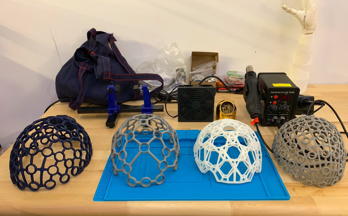 A few of our past EEG headset prototypes! Can you guess which one is