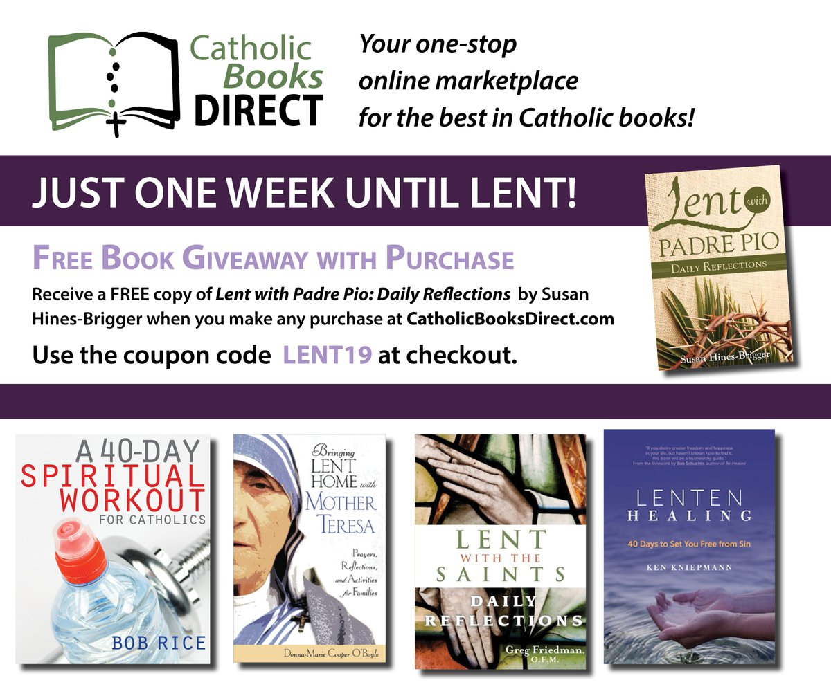 One week until Lent! Books to help you grow closer to God during this time are always ON SALE.  And don't forget about our FREE giveaway of Lent with Padre Pio when you use the coupon code LENT19 at checkout! #Lent #Catholic #CatholicBooks - https://mailchi.mp/307f01e3632c/jacques-philippe-836861…