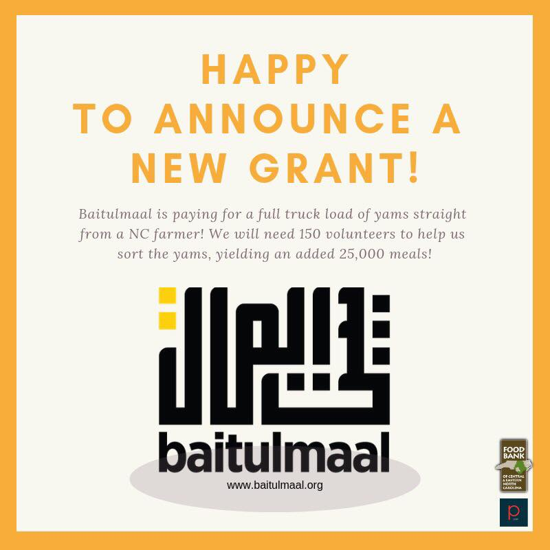 Food drive this Sat & @baitulmaal has awarded us a grant that will have 15,000lbs of yams dropped off  for us to sort. Baitulmaal understands that too many children do not know where their next meal is coming from. This yr they are helping us reach more than ever #noonegoeshungry