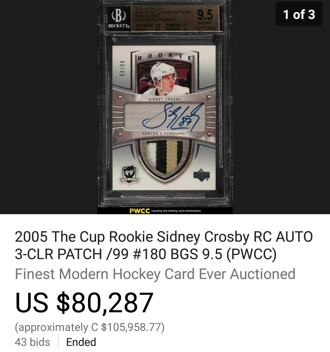 Tsn On Twitter A Sidney Crosby Rookie Card Sold For Over 100000