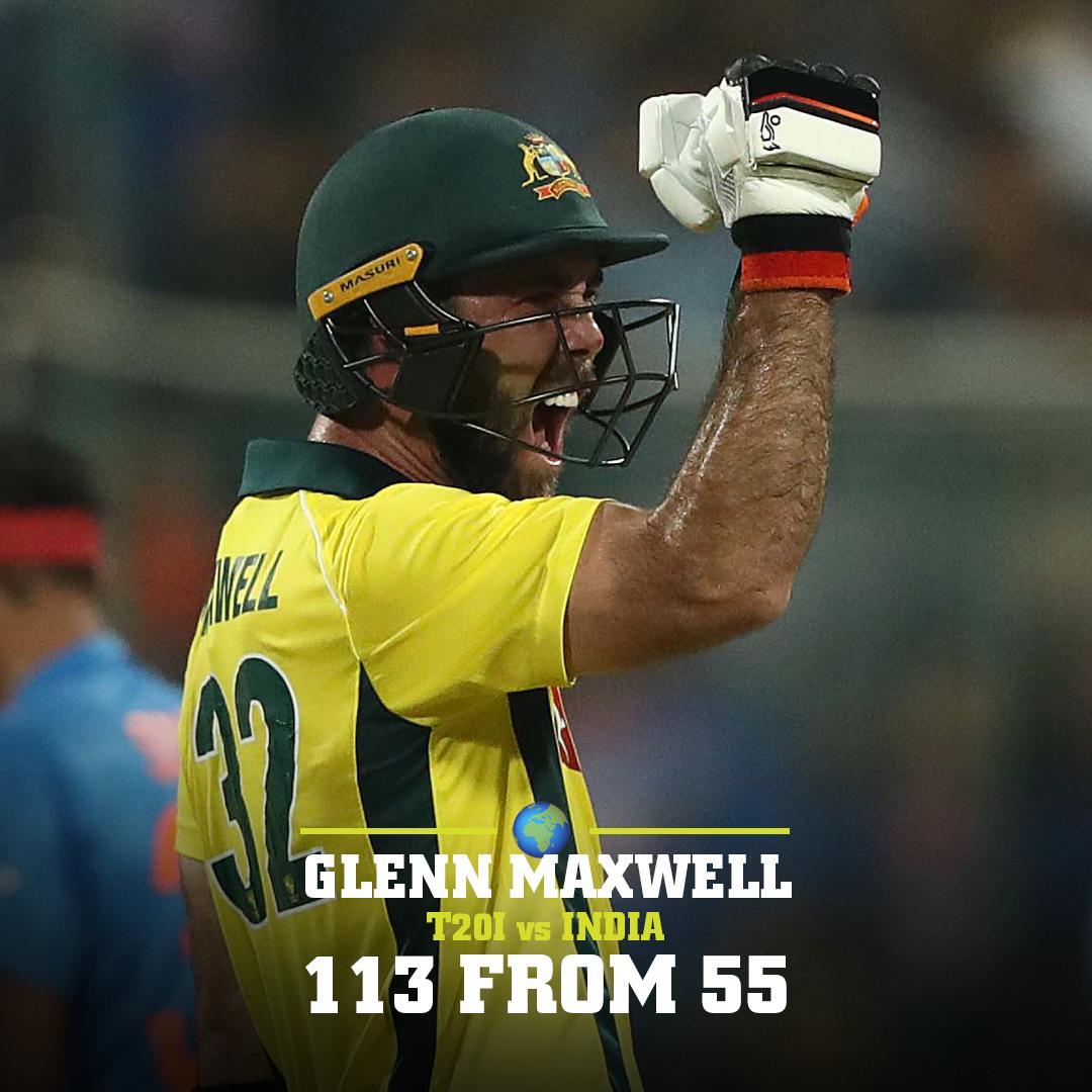 @Gmaxi_32 put on a show for the Aussies overnight.  Seven 4️⃣s and NINE 6️⃣s in the series winning victory!