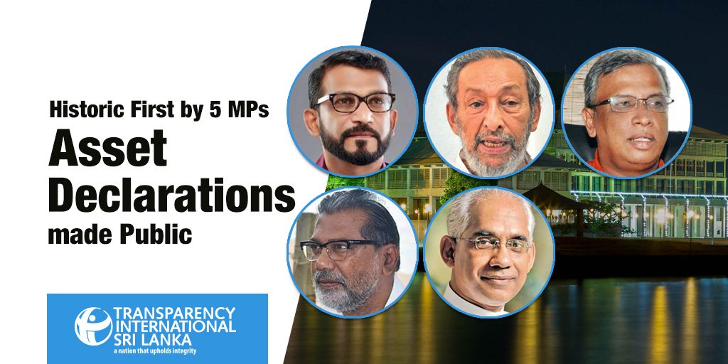 A historic first - 5 MPs make their asset declarations public today. Visit http://www.tisrilanka.org for more - Await LIVE stream of the press conference on our facebook page. #democracy #SriLanka #lka #Governance