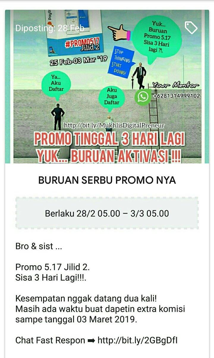 Buruan SERBU PROMO 5.17  Cek link dibio @mukhlistahier   SUKSES BISNISNYA BERKAH HIDUPNYA.  #ConnectingYourLife #DiPayTreninAja  #eMoney  #BisnisSyariah  #Digital  #Fintech  #Cashless  #Paytren517 #KitaPastiBisa #Millenials  #paytrenustyusufmansur #PaytrenIndonesia #Promo517pic.twitter.com/xp92LZAHck