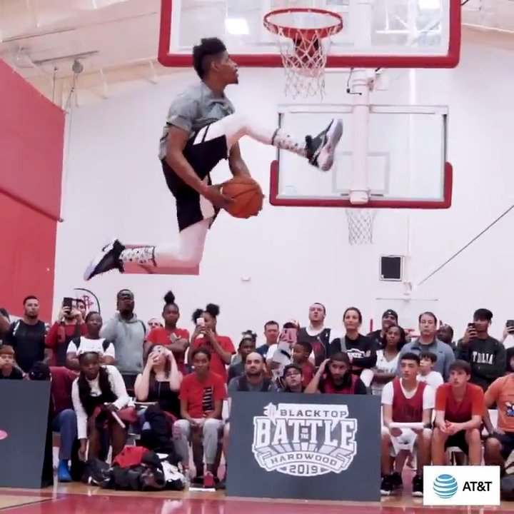 Check out 8-time Dunk Champion Isaac White and all the high-flying action in the Slam Dunk contest presented by @ATT at our annual Blacktop Battle on the Hardwood! #ATTSlamDunk