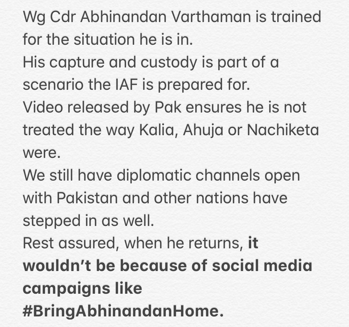 A note on #BringBackAbhinandan