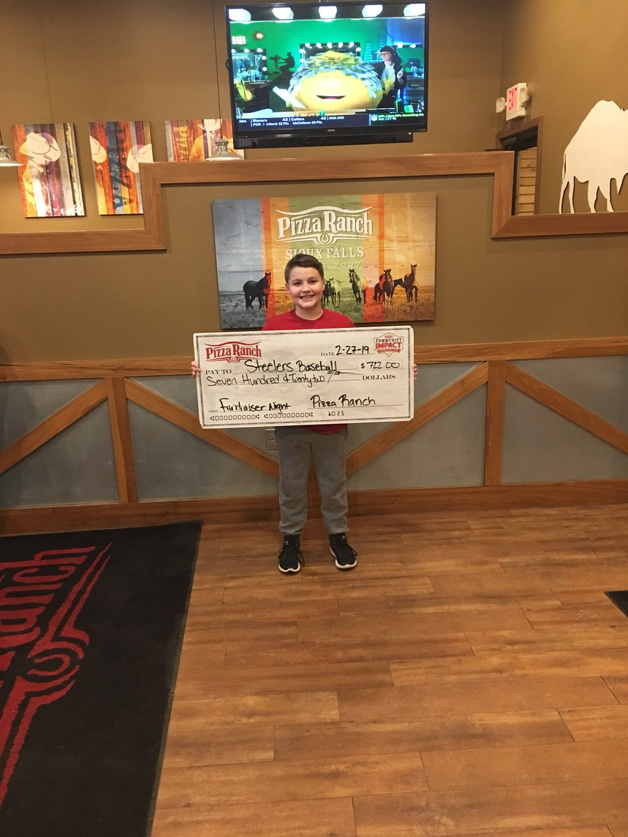 """Little man and his baseball team, the """"Stealers"""" did some fundraising tonight. Thanks @PizzaRanch for the opportunity!"""