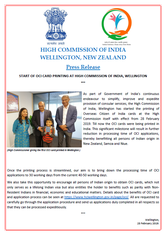 OCI Cards will now be printed in HCI Wellington! HC @kohli_sanjiv hands over the first ever card printed here! Another initiative to improve services! @MEAIndia @IndianDiplomacy @SushmaSwaraj @indianweekender @WIAWellington @BhavDhillonnz