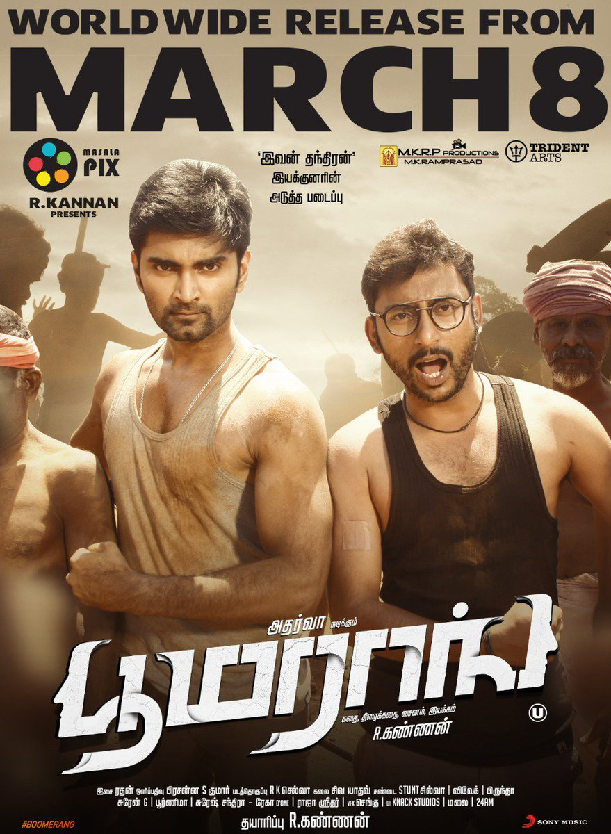 8 days to go to for #Boomerang!! Get ready to see this duo @Atharvaamurali & @RJ_Balaji in theatres soon.  #BoomerangFromMarch8  @akash_megha @actorsathish @Actress_Indhuja @Dir_kannanR @SonyMusicSouth @tridentartsoffl @DoneChannel1 @masalapixweb @mkrpproductions @digitallynow