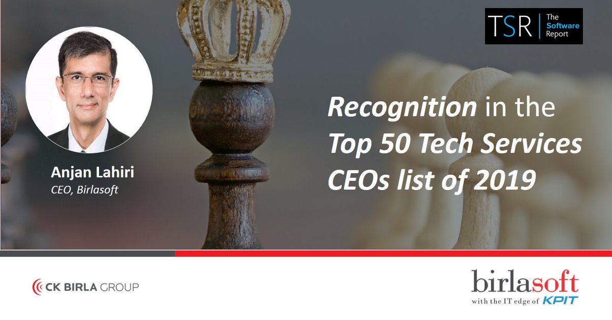 [Top Honor] | #EnterpriseReimagined | We are pleased to announce that @alahiri1999 has been recognized in the #Top50 Tech Services CEOs list of 2019, released by #TheSoftwareReport. More details in the link. https://t.co/I0dCAJ6f7L #recognition #ceosurvey  #BiggerFasterSmarter https://t.co/QxSc54RkwB
