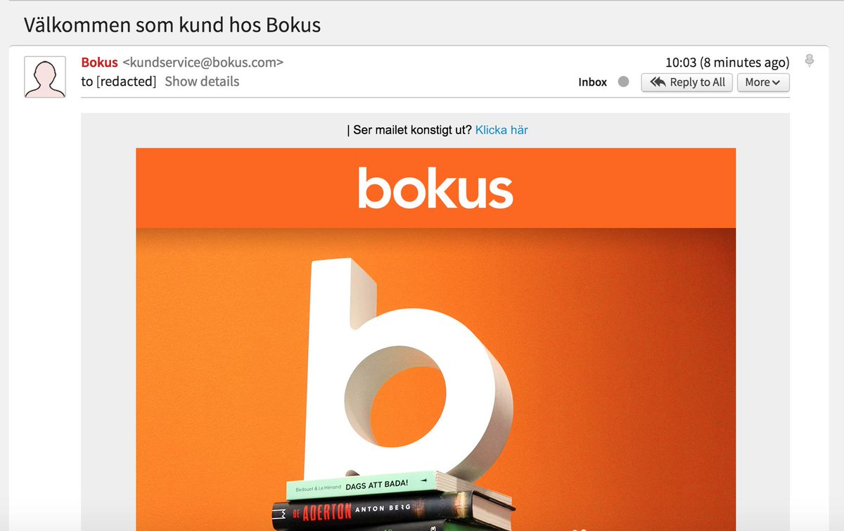 E-post från Bokus med ärenderaden