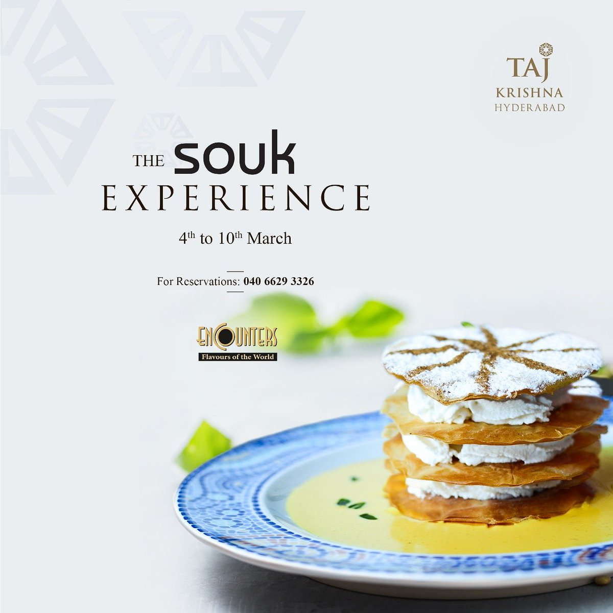 The Souk Experience!  Relish the delectable Eastern Mediterranean culinary crafts as Master Chef Simon recreates authentic Souk Specials of Taj Mahal Palace, Mumbai.  4th to 10th March  Encounters  For reservations: 040 6629 3326  #TajKrishnaHyderabad #Souk #TheSoukExperience