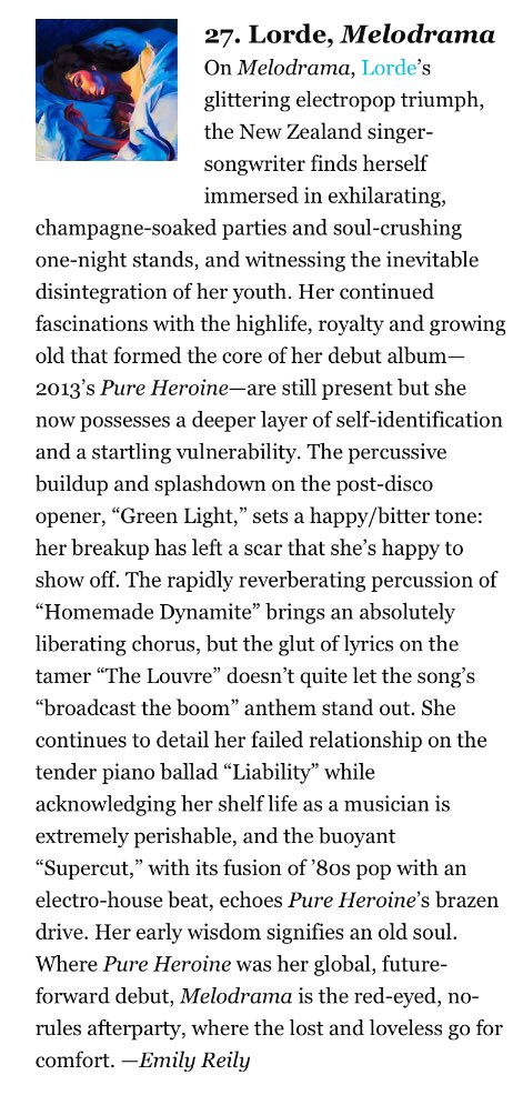 According to Paste Magazine, Melodrama is the 27th Best Breakup Album of ALL time! pastemagazine.com/articles/2019/…