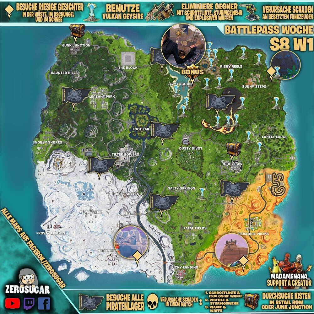 fortnite cheatsheet season 8 week 1 fortnitecheatsheet fortnite fortniteseason8 - fortnite week 1 cheat sheet season 8